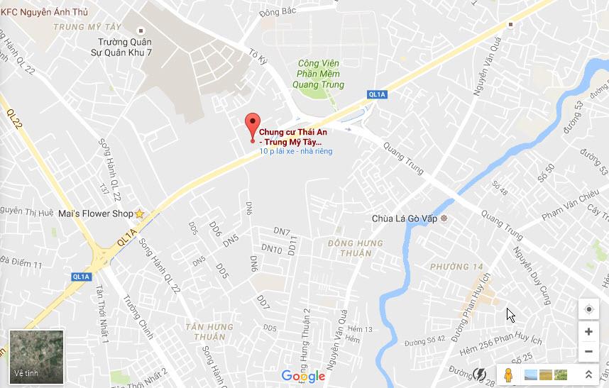 Vị trí căn hộ Thái An Trung Mỹ Tây Quận 12